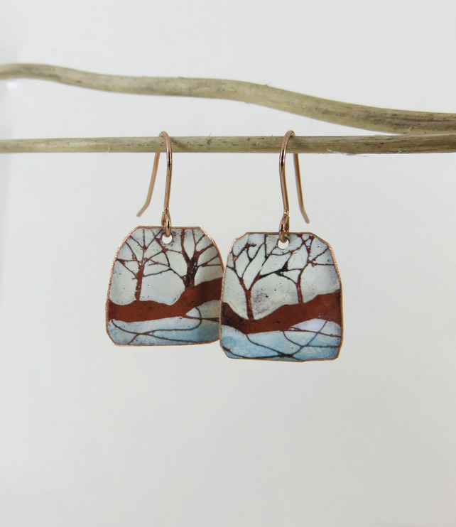 Enamel and Copper Light Blue and Ivory Tree Dangle Earrings