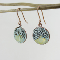 Enamel and Textured Copper Dangle Earrings with Gold Shimmer