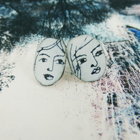 Copper and Enamel Studs with Hand Drawn Faces