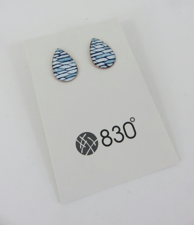 Teardrop Shaped Studs in Blue and White Enamel with a Hand Drawn Pattern