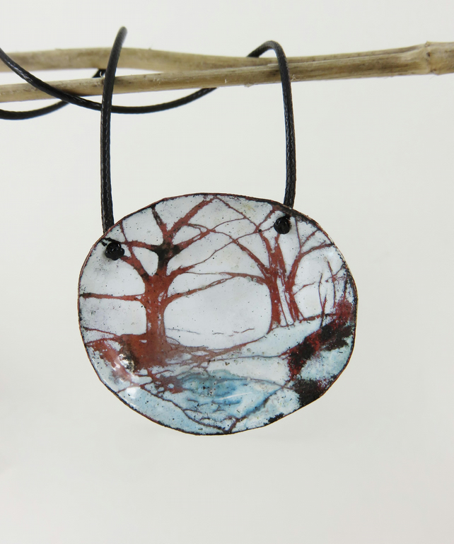 Oval domed hand drawn trees pendant in copper and enamel