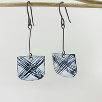 Enamel Earrings with Hand Drawn Patterned Detail