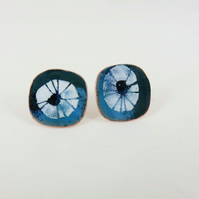 Rounded Square Stud Earrings in Copper and Enamel