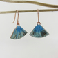 Fan Shaped Textured Copper and Enamel Dangle Earrings