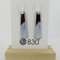 Black and White Dangle Copper Enamel Earrings with Hand Drawn Detail