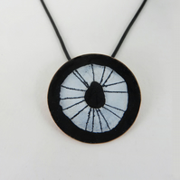 Round Copper and Enamel Pendant with Hand Drawn Detail.