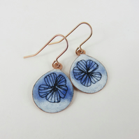Hand Drawn Flower in Blue and White Enamel Dangle Earrings