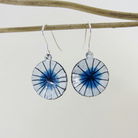 Drawn Blue and White Enamel Dangle Earrings with Clear Teal Pools