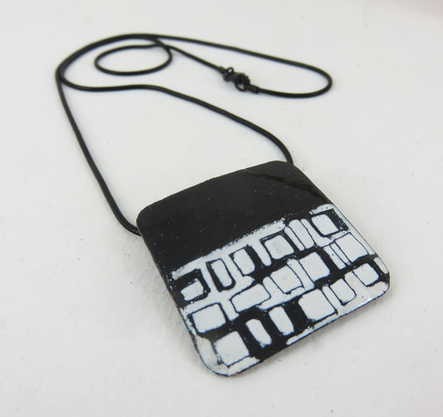 Square Enamel Pendant with Hand Drawn Square Pattern
