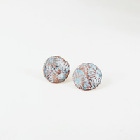 Enamel and Textured Copper Stud Earrings