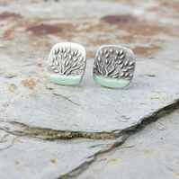 Silver and Enamel Unique Textured Stud Earrings