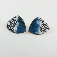 Triangle Copper Studs with Enamel and Patterned Detail