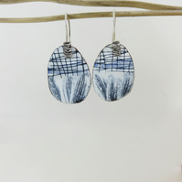 Statement Unique Enamel and Silver Dangle Earrings with Hand Drawn Detail