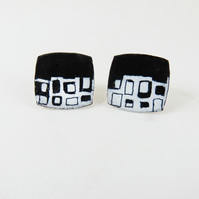 Monochrome Studs In Enamel with Hand Drawn Pattern