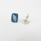 Silver and Enamel Leaf Design Studs