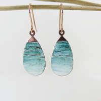 Copper with blue and white enamel dangle earrings