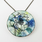 Painted Enamel and Copper Pendant with Floral Drawing.