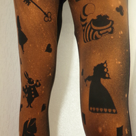 Alice in Wonderland Bleach Print Leggings,  Mad Hatter's Tea Party
