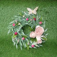 Lavender and Pink Rose Door Wreath, Decorative Wreath with Butterfly