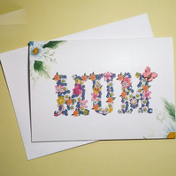 BIRTHDAY CARD , FLORAL WORDS