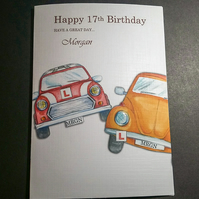 PERSONALISED  BIRTHDAY CARD, CARS