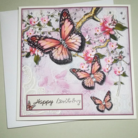 LARGE BIRTHDAY CARD, BUTTERFLIES