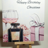 Personalised BIRTHDAY CARD, Perfume Bottle