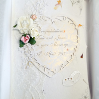 PERSONALISED WEDDING CARD, HEART & SWAROVSKI CRYSTAL