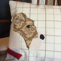 Appliqué Foxwire Terrier cushion