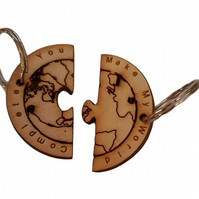 World of Two Half's Keyring Engraved : Couples Gift