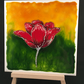 Red flower art tile