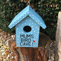 Handmade wooden personalised spotty birdhouse any text can be added