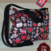 Retro Rockabilly Design Tote Bag, Tattoo Handmade, Women's Zip Top Tote Bag
