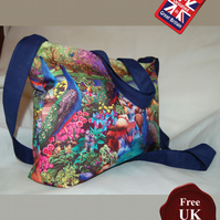 Peacock Tote Bag, Handmade, Peacock & Garden Women's Zip Top Tote Bag