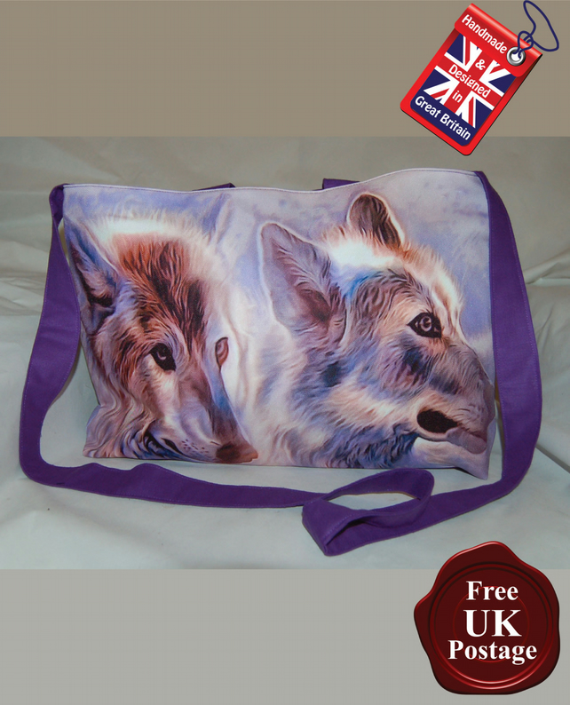 Wolf Tote Bag, Handmade, Women's Zip Top Tote Bag,