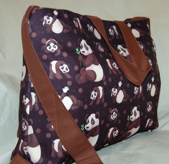 Panda Handbag, Women's Panda Zip Top Tote Bag, Handmade
