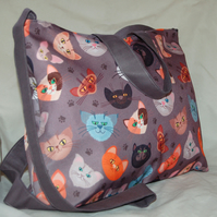 Cat Handbag, Women's Cat's Zip Top Tote Bag, Handmade