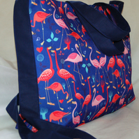 Flamingo Handbag, Women's Flamingo Zip Top Tote Bag Handmade