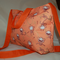 Monkey Tote Bag, Handmade, Orange Monkeys Women's Zip Top Tote Bag