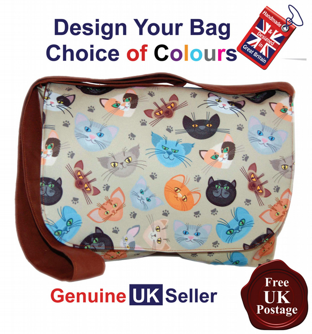 Cat Pattern Messenger Bag,Cat Shoulder Bag, Cat Bag,