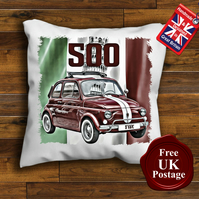 Classic Fiat 500 Cushion Cover, Choose Your Size