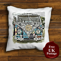 VW Splitscreen Campervan Cushion Cover, Choose Your Size