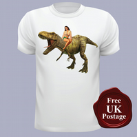 Pin up Girl on a Dinosaur T Shirt, Mens T Shirt, Choose Your Size