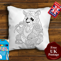 Panda Colouring Cushion Cover, With or Without Fabric Pens Choose Your Size