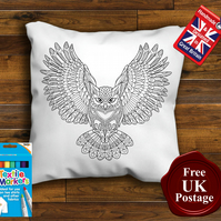 Owl Colouring Cushion Cover, With or Without Fabric Pens Choose Your Size