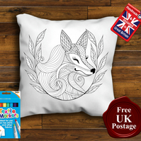 Fox Colouring Cushion Cover, With or Without Fabric Pens Choose Your Size