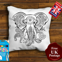 Elephant Colouring Cushion Cover, With or Without Fabric Pens Choose Your Size