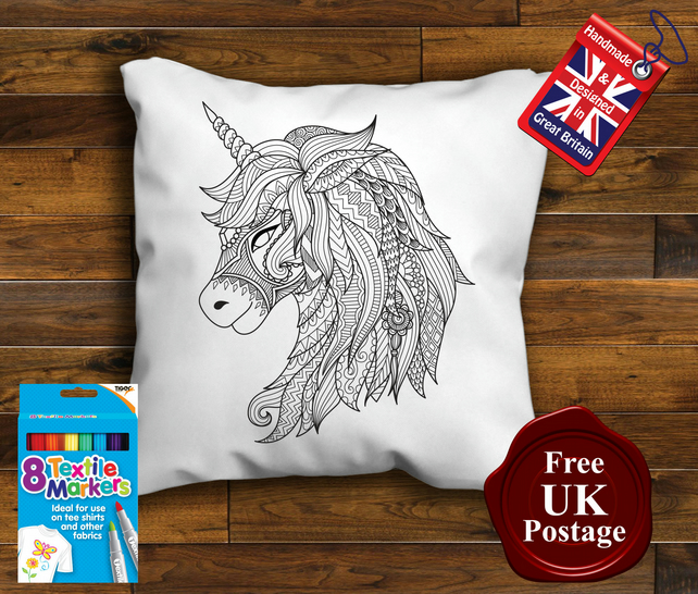 Unicorn Colouring Cushion cover, With or Without Fabric Pens Choose Your Size