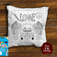 VW Bay Colouring Cushion Cover, With or Without Fabric Pens Choose Your Size