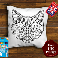 Sugar Cat Colouring Cushion Cover, With or Without Fabric Pens Choose Your Size